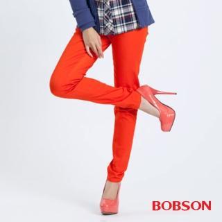 【BOBSON】女款彩色強彈力緊身褲(橘紅21)