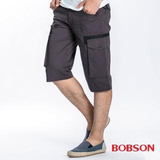 【BOBSON】男款貼袋短褲(鐵灰85)