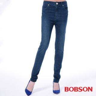 【BOBSON】女款高腰膠原蛋白美肌褲(藍8081-53)