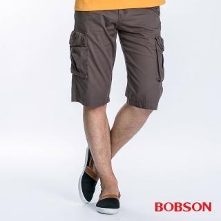 【BOBSON】男款貼袋短褲(墨綠190-41)