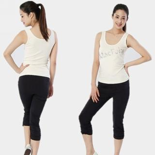 【MACPOLY】台灣製造 / 女舒適涼感高彈力緊身內搭七分褲(黑色  S-3XL)