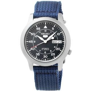 【SEIKO】精工5號野戰機械帆布錶-軍藍(SNK807K2)