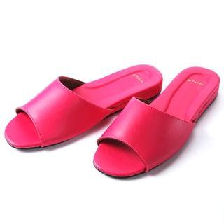【臺灣製】日式羊皮手工室內拖鞋-桃紅色-2雙入