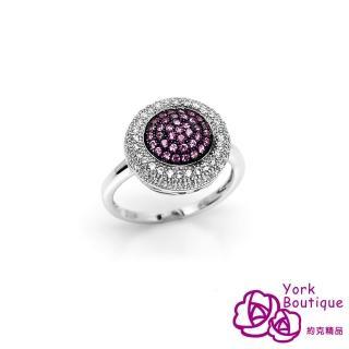 【約克精品】高雅密拼方晶鋯石包銠金戒指