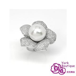 【約克精品】珠潤花叢方晶鋯石包銠金戒指