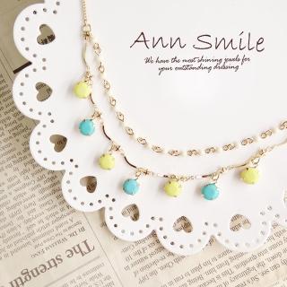 【微笑安安】粉嫩馬卡龍雙層珠墜項鍊(共3色)