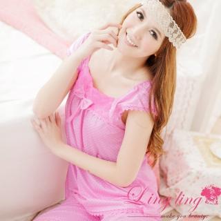 【lingling日系】A867甜美玫瑰方領圓點二件式睡衣組(甜心粉)