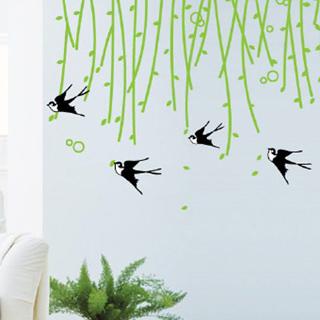 【Pond's】無痕壁貼--綠柳飛燕/HL3D2192(超大尺寸50x70cm)