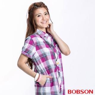 【BOBSON】女款格紋短袖襯衫(紫紅23135-62)