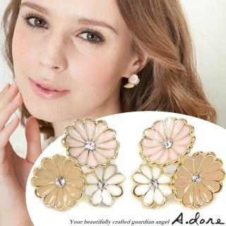 ~A.dore~瑪格麗特花束晶鑽耳環^(裸膚粉紅白^)