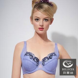 【貝麗絲】典雅雙色繡花胸罩(藍_EFG)