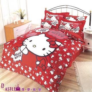 【享夢城堡】HELLO KITTY 嗨-你好嗎系列(四件式雙人床包涼被組-紅)