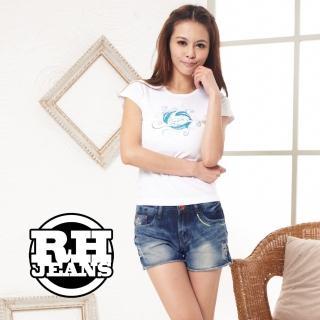【RH】彩線設計感水洗單寧短褲(活力藍全尺碼最後到貨)