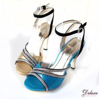 【Deluxe】璀燦性感.閃亮皮革細排亮鑽繫踝高跟涼鞋(★二色)