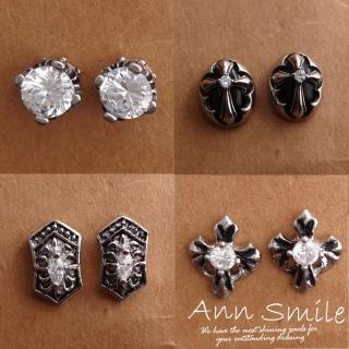 【微笑安安】鋯石/十字架/盾牌鈦鋼單顆針式耳環(共4款)