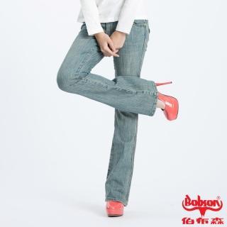 【BOBSON】女款低腰伸縮小喇叭牛仔褲(淺藍41)