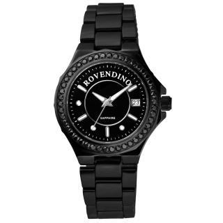 【Roven Dino羅梵迪諾】馨彩典藏時尚晶鑽陶瓷腕錶(黑 RD6046-796-B)