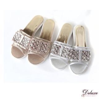 【Deluxe】舒適閃耀.亮色皮革水晶燙鑽平底涼拖鞋(★二色)