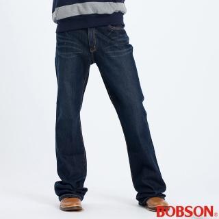 【BOBSON】男款貓鬚伸縮喇叭褲(藍52)