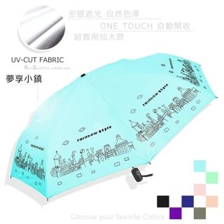 【RainBow】加大款!夢享小鎮-抗UV自動傘_晴雨傘(晴空藍)