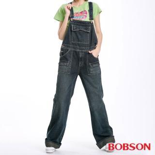 【BOBSON】女款低腰刷白牛仔吊帶長褲(深藍52)