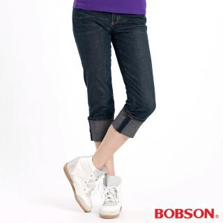 【BOBSON】女款貓鬚反折八分褲(深藍77)