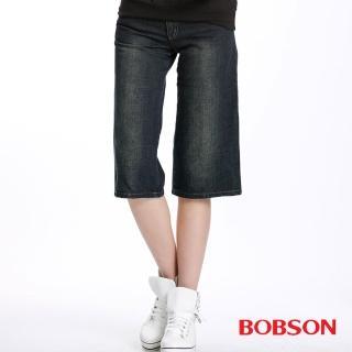 【BOBSON】女款低腰粗結紗直筒七分褲(藍113-53)