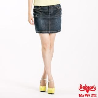 【BOBSON】女款抓破牛仔短裙(藍52)