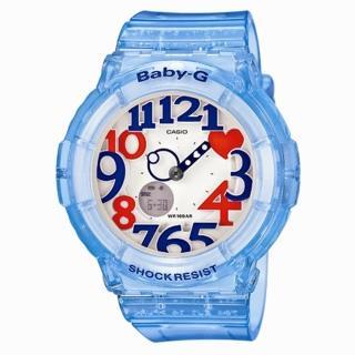 【CASIO】BABY-G 霓彩盛宴時尚運動腕錶(透明藍 BGA-131-2BDR)