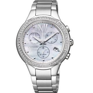 【CITIZEN】極致動人光動能晶鑽計時腕錶(鋼帶-銀 FB1320-59A)