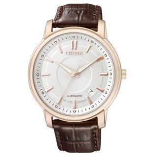 【CITIZEN】NP系列 小資紳士都會機械腕錶(皮帶-咖啡金 NB0002-06A)