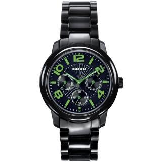 【GOTO】躍色潮流時尚陶瓷腕錶(黑綠 GC6106M-33-391)