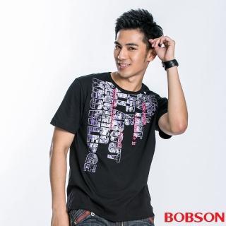 【BOBSON】男款字母印圖短袖上衣(黑22038-88)
