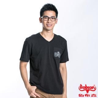 【BOBSON】男款V領肩上扣飾短袖上衣(黑22021-88)
