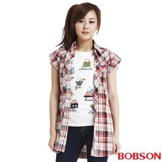 【BOBSON】女款經典格紋短袖襯衫(紅13)