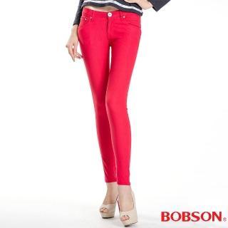【BOBSON】女款彩色強彈力緊身褲(紅8087-13)