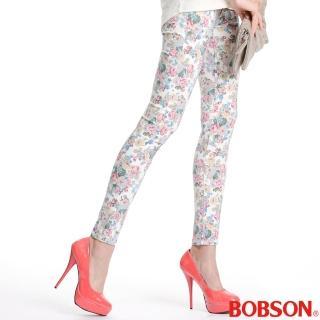 【BOBSON】女款印花強彈力緊身褲(米白8094-80)