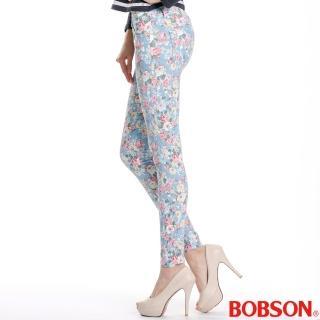 【BOBSON】女款印花強彈力緊身褲(藍8094-53)