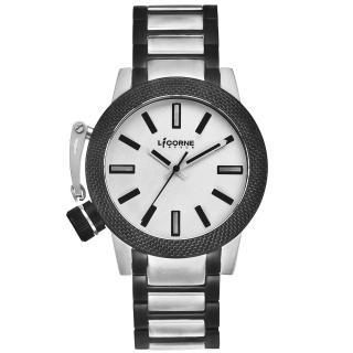 【LICORNE】MK-2危險特工時尚設計錶款(黑銀 LI031LTWI)