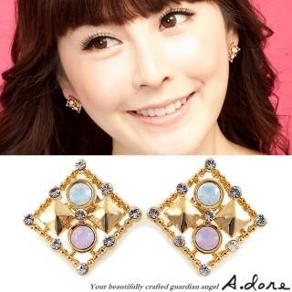 【A.dore】情定拜占庭˙方塊鑲嵌水晶耳環(金˙玫瑰粉紅蛋白石)