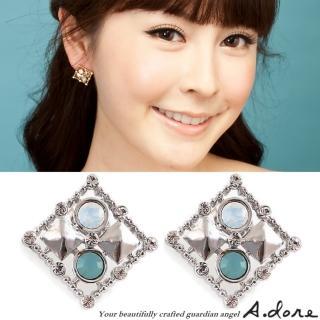 【A.dore】情定拜占庭˙方塊鑲嵌水晶耳環(銀˙雲綠蛋白石)