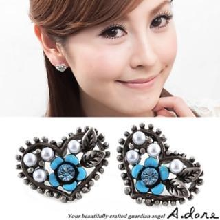 【A.dore】拜占庭愛心˙雕花水晶珍珠耳環(古銀土耳其藍)