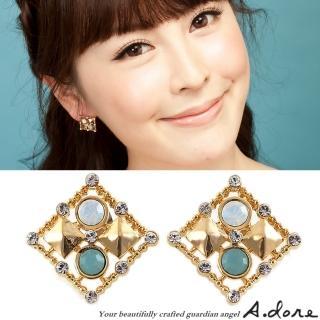 【A.dore】情定拜占庭˙方塊鑲嵌水晶耳環(金˙雲綠蛋白石)