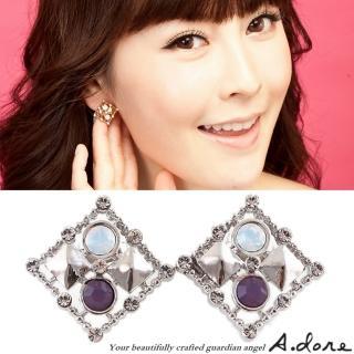【A.dore】情定拜占庭˙方塊鑲嵌水晶耳環(銀˙紫羅蘭蛋白石)