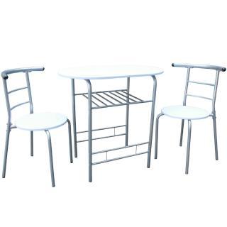 【美佳居】高級鋼管-洽談桌椅組/會客桌椅組/餐桌椅組-1桌2椅(素雅白色)
