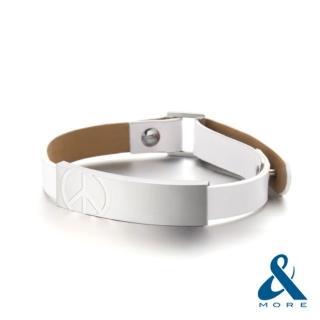 【&MORE愛迪莫鈦鍺】Peace皮革鍺手環(女款)