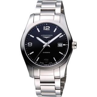 【LONGINES】征服者系列 經典時尚機械腕錶-黑/銀/39mm(L27854566)