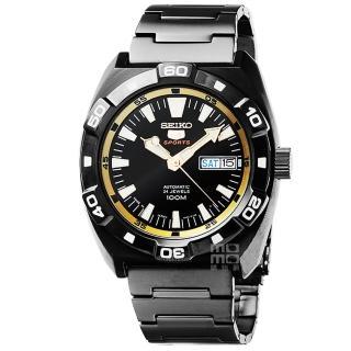 【SEIKO】精工炫黑5號手自動上鍊機械錶-IP黑 日本版(SRP287J1)