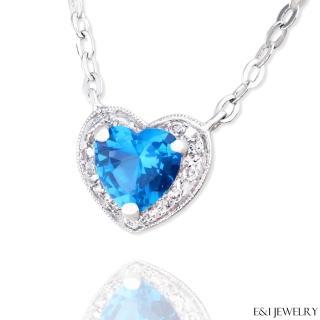 【E&I】-晶采- 3克拉藍色尖晶石愛心造型美鑽項鍊