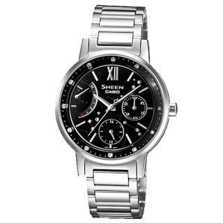 【CASIO】HEEN系列 仲夏星塵三環晶鑽時尚腕錶(鋼帶-銀黑 SHE-3028D-1AUDR)